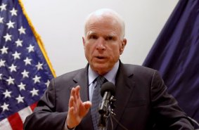 U.S. Senator John McCain speaks during a news conference in Kabul